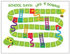 SCHOOL DAYS - UPS & DOWNS free printable board game.