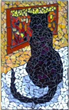 """winter cat - a good way to portray a black cat (like our Hebe), as their facial features often get """"lost"""". Mosaic Glass, Mosaic Tiles, Glass Art, Stained Glass, Mosaic Crafts, Mosaic Projects, Winter Cat, Mosaic Animals, Mosaic Artwork"""