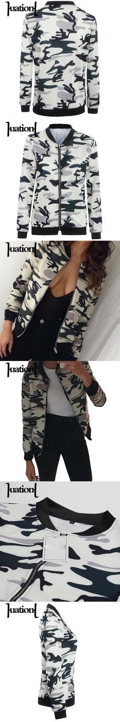 Huation Autumn Camouflage Print Women Jackets New Femme Stand Collar Baseball Jackets Long Sleeve Stand Bomber Jacket Coats