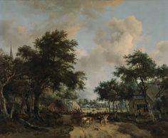 Boslandschap met een vrolijk gezelschap in een wagen, Meindert Hobbema, ca. 1665