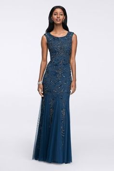 Cap Sleeve Beaded Gown with Scoop Back 091880660