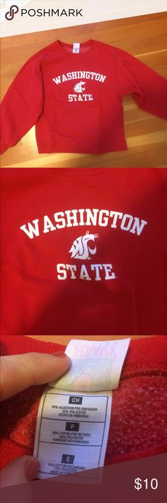Washington State University WSU Sweatshirt A red, crew neck WSU sweatshirt! Very gently used, with no stains or holes or other issues. Is very soft and comfortable. A unisex size S, runs pretty true to size but can fit M as well. Fruit of the Loom Shirts Sweatshirts & Hoodies