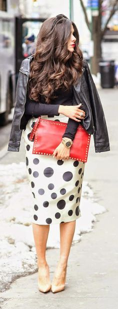 DOTTED - Black Moto Jacket with Polka Dots Midi Skirt and Hair Waves Color and Studs Red Clutch and Christian Louboutin Pumps / The Sweetest Thing