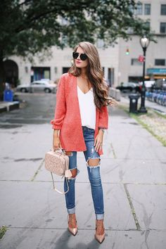 Orange oversized sweater