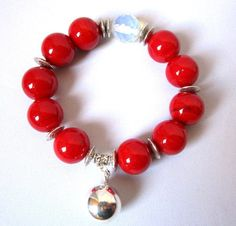Bright Red Glass beads bracelet Glass beads by Thingsfromtheheart