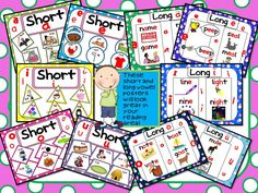 These short and long vowel posters are cute and colorful!  They are only a small part of my vowel unit- The Ultimate Vowel Pack!  You will also find centers, songs, poems, games, and worksheets to go along with many vowel concepts!!