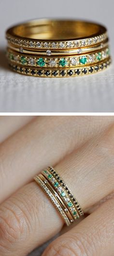 Stacking rings! 20 year anniversary wish; with 2 ruby, 1 emerald, and 1 diamond, the whole family represented.