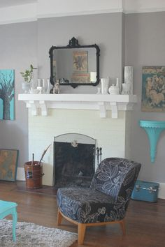 This would be great in the family room, but I'm really digging the bright blue on the grey walls.