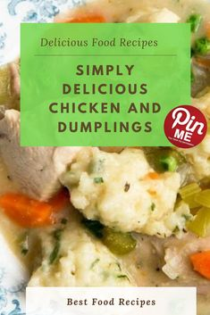 SIMPLY DELICIOUS CHICKEN AND DUMPLINGS Here's the way to make classic bird and dumplings! Making dumplings which can be tasty, light, yet keep together isn't a given. The bisquick dumpling model, although mild and fluffy, tends to disintegrate. Making Dumplings, How To Make Dumplings, Chicken And Dumplings, Good Food, Yummy Food, Bisquick, Chicken Salad Recipes, Yum Yum Chicken, Tasty