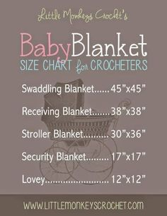Baby Blanket size chart - crochet or knit Baby Sewing Projects, Sewing For Kids, Sewing Hacks, Sewing Crafts, Sewing Ideas, Sewing Basics, Crochet Projects, Baby Blanket Size, Blanket Sizes