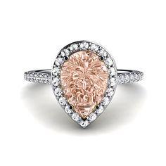 Platinum Morganite Engagement Ring Diamond Halo Pear Morganite Ring Custom Bridal Jewelry on Etsy, $2,200.00
