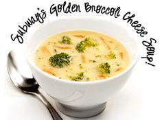 Subway Restaurant Golden Broccoli Cheese Soup recipe (thumbnail image) Subway Broccoli Cheese Soup Recipe