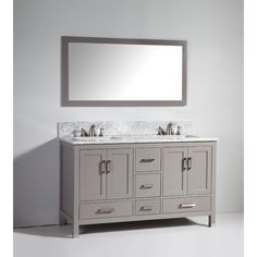 Pic Of Legion Furniture inch Light Grey Solid Wood Double Sink Vanity Set with Mirror by Legion Furniture