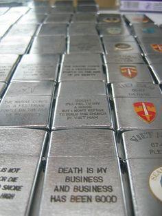 Zippo lighters from Vietnam War.