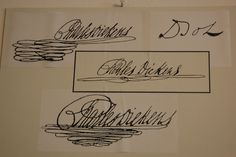 Dickens' changing signature - a display in the Charles Dickens Museum at 48 Doughty Street in London