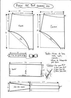 Esquema de modelagem de biquíni hot pant tamanho GG.