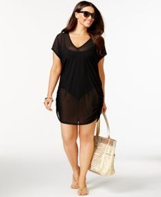 Anne Cole Plus Size Mesh V-Neck Cover-Up - Black