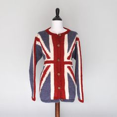 Union Jack Hand Knit Wool Woman's Jumper Sweater Patriotic apparel United Kingdom Cardigan on Etsy, $139.00