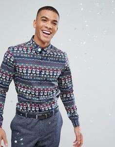 ASOS Holidays Stretch Slim Shirt With Festive Repeat Print - Navy