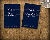 Calligraphy Wedding Table Numbers DIY (printable)