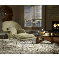 icon lounge chair and ottoman - upholstered in wool or tweed fabric and is available a wide variety of vibrant colors.