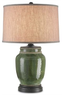 FREE SHIPPING IN THE US. USE CODE LOVE10OFF FOR 10% OFF YOUR ENTIRE PURCHASE.  The Carver is a classic lamp design that resembles an old fashioned olive jug. Its Green and French Black finish makes it classic and distinctive. Made from terra cotta, the Carver Table Lamp is sumptuous.  Product Name: Carver Table Lamp Dimensions: 30h Shades: Natural Linen 18x19x12