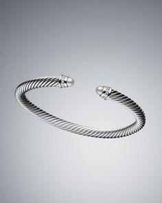 David Yurman 5mm Pearl Cable Classics Bracelet, Medium