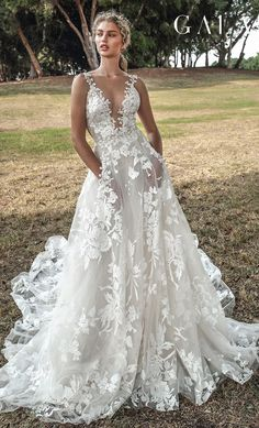 437381e2824e galia lahav gala fall 2019 bridal sleeveless thin lace strap deep v neck  full embellishment romantic