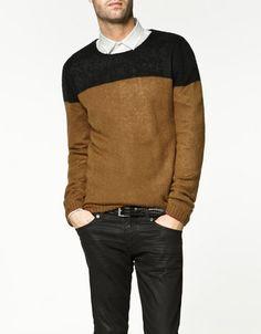 two-tone sweater #zara
