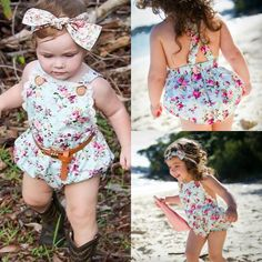 Newborn Infant Baby Girl Bodysuit Floral Romper Jumpsuit Outfit Sunsuit Clothes