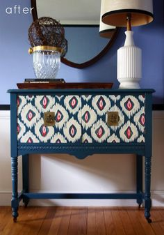 Painted Furniture - Love this ikat style, try a DIY, remove the hardware and using fabric glue adhere the fabric to the drawer. When dry replay the hardware!