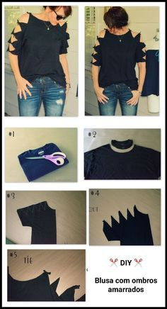 ideas diy ropa reciclada remeras for 2019 Diy Cut Shirts, T Shirt Diy, Diy Tshirt Ideas, Cutting Shirts, Diy T Shirt Cutting, T Shirt Refashion, T Shirt Hacks, Clothes Refashion, Cut Up Tshirt Ideas