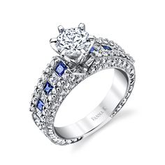 VannaK.com This+unique+engagement+ring+from+the+Hand+Engraved+collection+is+decorated+with+0.74+ct.+t.w.++sapphires+and+1.13+ct.+t.w.+diamonds,+pictured+(1.0+ct.+center+not+included)  Hand-Engraved+by+expert+artisans+for+the+perfect+profile+combining