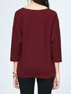 Shop Long Sleeved Tops - Burgundy V Neck 3/4 Sleeve Polyester Long Sleeved Top online. Discover unique designers fashion at StyleWe.com.