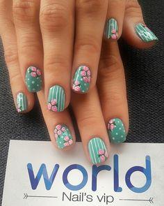 Spring Nail Art, Nail Designs Spring, Spring Nails, Nail Art Designs, Pink Blue Nails, Nail Polish Brands, Cute Hairstyles For Short Hair, Flower Nails, Nail Manicure