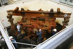 USS Monitor Engine | Archaeological Conservators treating the engine of the USS Monitor