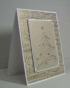 By scrapnextras at Splitcoaststampers. Gold embossing on gold paper. So pretty! So simple.