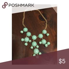 Gold & Seafoam Bauble Necklace Gold adjustable chain necklace with sea foam green beads. Never worn! Jewelry Necklaces