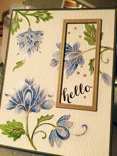 Beautiful card made using Altenew Persian Motifs and Hello stamps.  The flowers were colored in using Karetake's Gambai Tamsai watercolors.