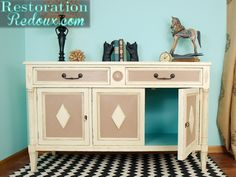 Vintage Buffet Makeover (Love the turquoise peeking out!) -Momo