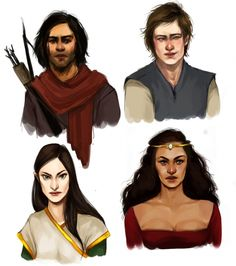 Starting at top and going left to right:  Murtagh, Eragon, Arya and Nasuada.  I  didn't really imagine any of the characters this way but that's okay. It gives me a new perspective on them.