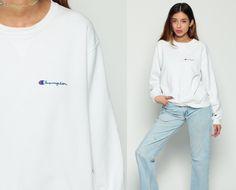 Champion Sweatshirt 90s Plain Crewneck Pullover White Jumper Grunge Long Sleeve Shirt Slouchy 1990s Vintage Normcore 80s Large xl by ShopExile on Etsy https://www.etsy.com/se-en/listing/471096101/champion-sweatshirt-90s-plain-crewneck