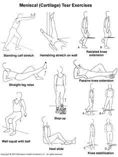 exercise for torn meniscus .perfect for my torn mcl Knee Injury Workout, Mcl Injury, Yoga, How To Strengthen Knees, Knee Problem, Knee Exercises, Stretches, Physical Therapy Exercises, Pilates