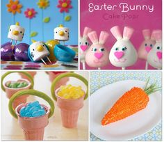 Cute Easter foods-has choc. covered strawberries to look like carrots