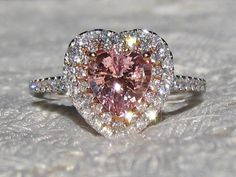 Peachy Pink Sapphire Engagement Ring, White and Rose Gold Double Diamond Halo Engagement Ring with Heart Peach Sapphire, by JuliaBJewelry Ring Set, Ring Verlobung, Cute Jewelry, Jewelry Rings, Jewellery Box, Jewellery Shops, Jewelry Stores, Jewellery Exhibition, Temple Jewellery