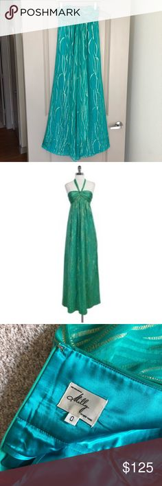 Milly Silk halter maxi dress STUNNER!!! Emerald green silk maxi can be worn as a halter or untie for strapless. A dress with options! Metallic gold threaded throughout. Concealed back zipper. Fully lined. Dress down with nude sandals or go for the glitz with some wedges. Size 0. True to size. Fits size 0-2.  77% Silk 23% metallic  Lining: 100% Poly Dry clean Milly Dresses Maxi