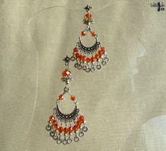 Boucles d'oreille orientales aux perles de cristal et argent du Tibet  °°Safran Gin°° - 11.80€