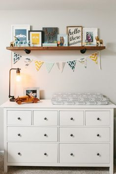 Project Nursery - Clean + Simple Vintage Race Car Nursery - you can add some cool kids' car knobs to this great setup and your childrens room will be even more awesome! ;)