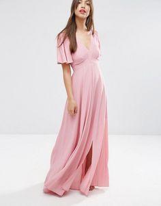 ASOS Pretty Maxi Dress with Ruffle Sleeve $78.00