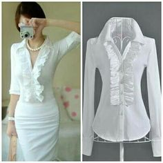 Cheap shirt blouses, Buy Quality shirts seattle directly from China blouse fabric Suppliers: Spring 2014 women clothing white ruffles patchwork full sleeve ladies casual slim formal working blouses shirts plus size S-XL Classic White Shirt, Beautiful Blouses, White Shirts, Work Attire, Office Outfits, Fashion Outfits, Womens Fashion, Blouse Designs, Dress Skirt